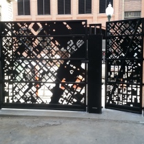 Back view of Blake Street access gates, daytime.