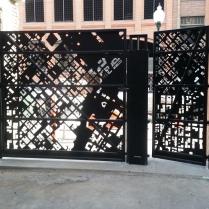 Back view of Blake Street access gates, daytime.