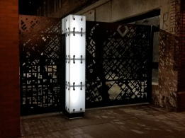 Access Gates at night on Blake Street Downtown Denver