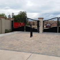 Double swing subdivision entry gates in Cherry Creek, CO.