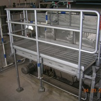 Aluminum and stainless steel platform at water treatment facility.