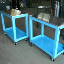 Heavy duty, steel, rolling carts with removable aluminum work tops. 2000# load capacity. For Sale, call for more information!!