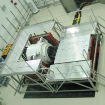 Aluminum platform in use around aerospace shaker equipment.