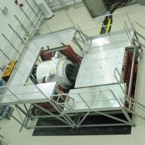 Aluminum platform in use around aerospace shaker equipment.