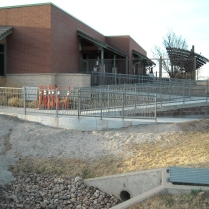 Bent picket ramp guard rails, Lakewood, CO assisted living facility
